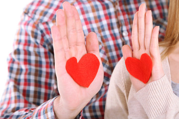 Hands with hearts,  isolated on white
