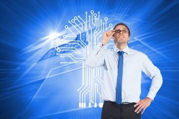 Composite image of thinking businessman tilting glasses