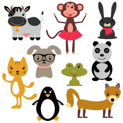 Set of random cute animals