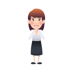 woman pleading over white background.