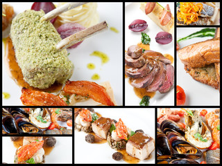 Food collage of gourmet dishes