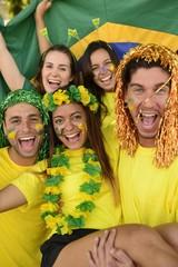 Soccer fans amazed celebrating victory together.