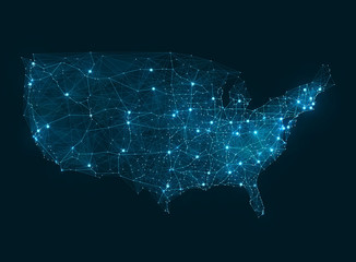 Abstract telecommunication network map - USA