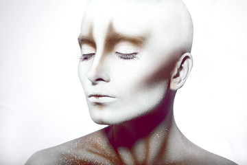 Hairless woman with closed eyes