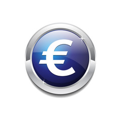 Euro Sign Vector Icon Button