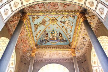 Ceiling Mural of Patuxai arch monument in Vientiane, Laos