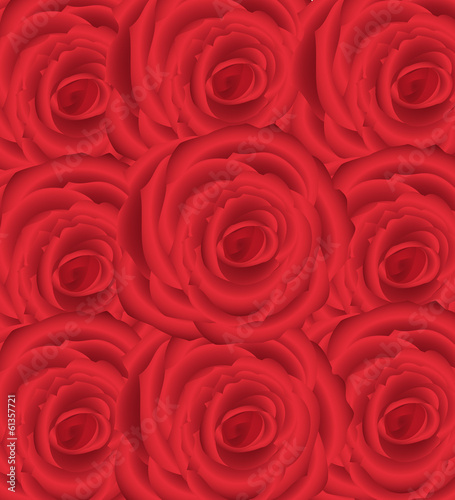 Wallpaper Pattern With Of Red Roses On White Background