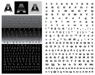 Dark glossy sans-serif font set