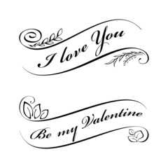 Calligraphic design elements for Valentine's day