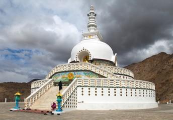 Tall Shanti Stupa near Leh - Ladakh - India