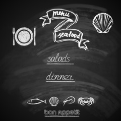 vintage seafood menu design with chalkboard texture
