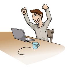 Happy young man at his computer