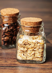 Mini jars with oats and coffee beans