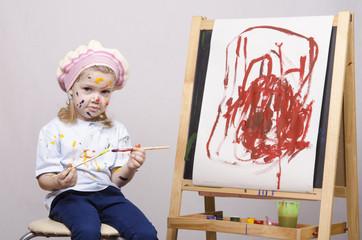 Портрет девочки художника у мольберта