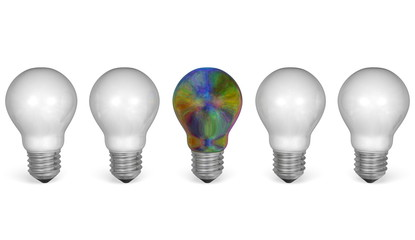 One multicolored light bulb in row of white ones. Front view