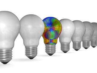 One multicolored iridescent light bulb in row of many white ones