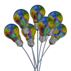 Bouquet of multicolored iridescent light bulbs