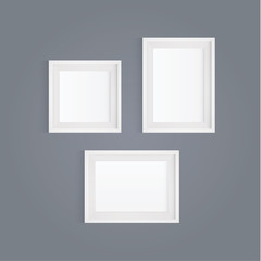 Vector realistic white picture frame. Modern design element for