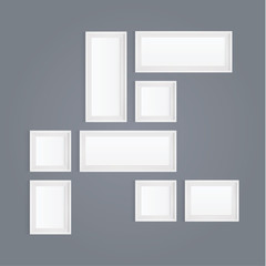 Vector realistic white picture frame composition