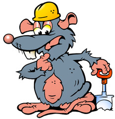 illustration of an Rat holding a Spade