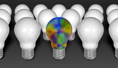 One iridescent light bulb among many white ones on grey