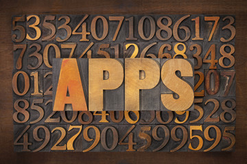 apps (applications) word in wood type