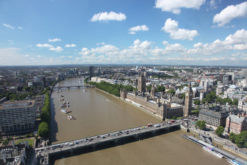Panoramic view London with Big Ben and the House of Parliament,