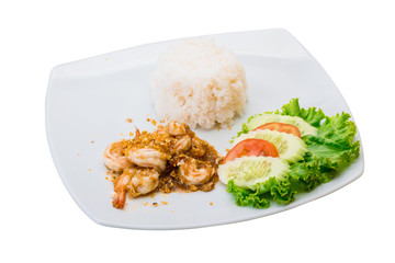 Shrimps with garlic and rice