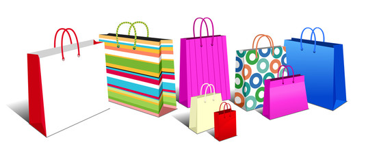 Shopping Bags, Carrier Bags Icons Symbols
