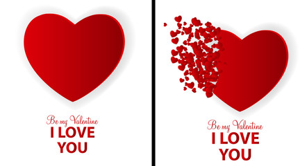 Big Set of Happy Valentines Day Card with Heart. Vector Illustra