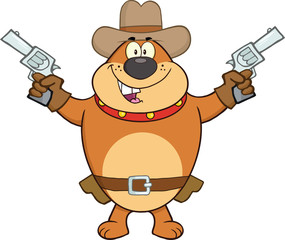 Brown Bulldog Cowboy Cartoon Character Holding Up Two Revolvers