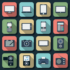 Electronic flat vector icons set 1