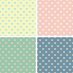 Love Heart Pastel Palette Vector Seamless Background Pattern Set
