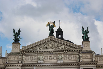 top of the building of opera-house in Lvov