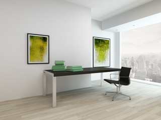 Living room interior with table and chair
