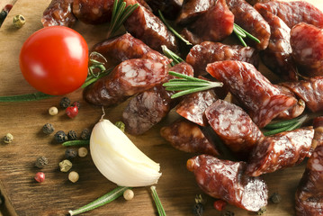 Smoked sausage with rosemary and peppercorns tomatoes and garlic