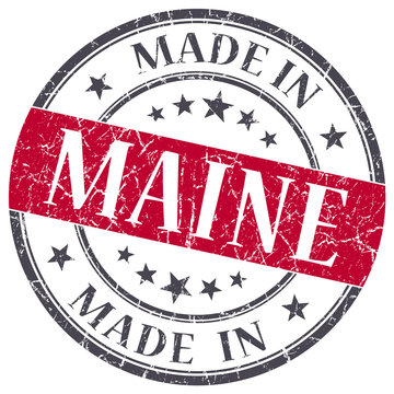 made in Maine red round grunge isolated stamp