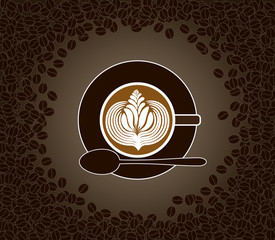 Cup of cappuccino with milk pattern surrounded by cofee beans