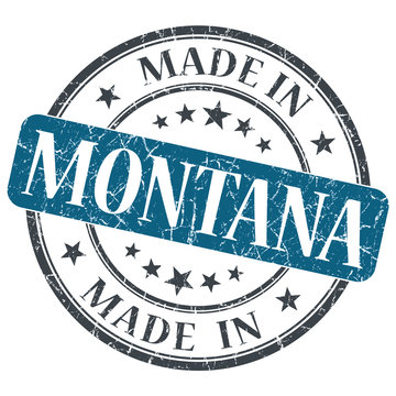 made in Montana blue round grunge isolated stamp