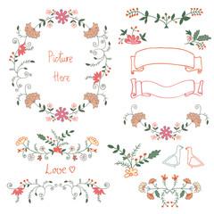Set of cute romantic flower decoration