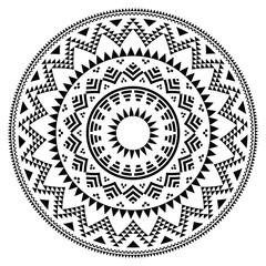 Tribal folk aztec geometric pattern in circle