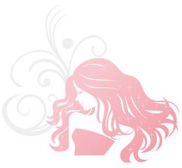 美髪 シルエット 女性