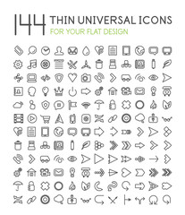 Large collection of thin universal web icon set