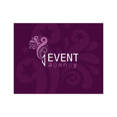 Vector event agency logo. Fireworks fly out of the shop window.