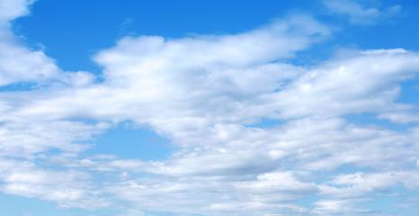 Blue cloudy sky horizontal background photo texture