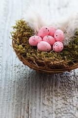 Ostereier im Nest auf Holz