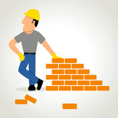 Simple cartoon of a builder with bricks