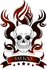 Skull shape with tattoo ornament isolate