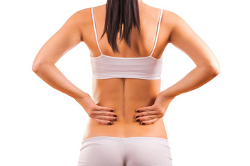 female body with back inflammation