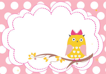 Baby girl label with owl vector frame